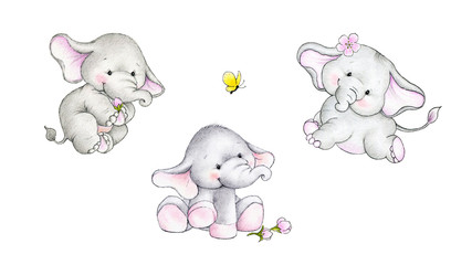 Three cute baby elephants