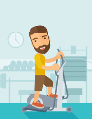 Man in gym sport workout exercises.