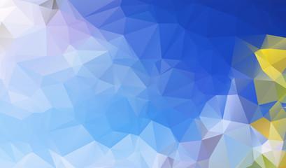 Multicolor blue, yellow, orange polygonal illustration, which co