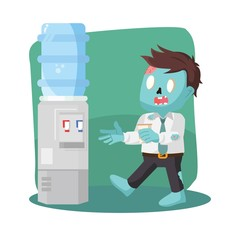 zombie office and dispenser vector illustration design