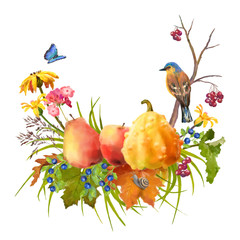Watercolor Autumn Thanksgiving Composition