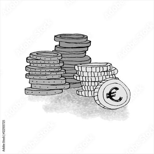 m nzen geld geldstapel gezeichnet gemalt illustriert element f r dozenten prospekte grau. Black Bedroom Furniture Sets. Home Design Ideas