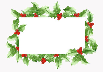 Leaf Christmas Holly pattern, with white paper for greeting.