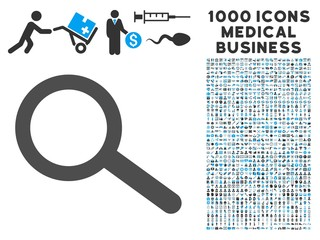 Find icon with 1000 medical commerce gray and blue vector pictograms. Collection style is flat bicolor symbols, white background.