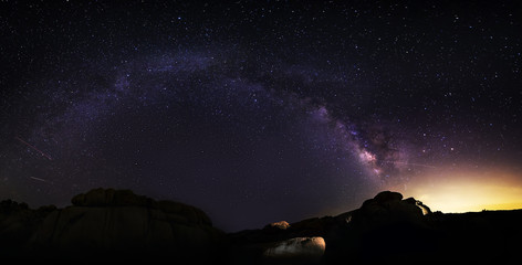 Panoramic view of the Milky Way galaxy on the desert horizon at night