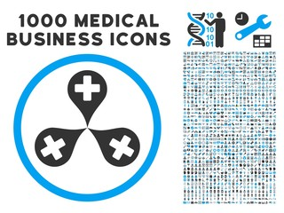 Hospital Map Markers icon with 1000 medical commercial gray and blue vector pictographs. Clipart style is flat bicolor symbols, white background.