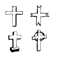 christian cross sign hand draw doodle illustration design
