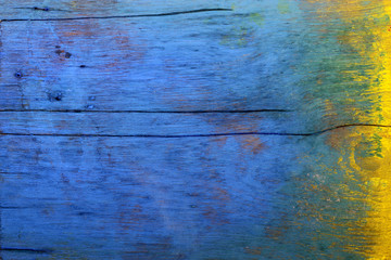 Wood floors, blue and yellow.