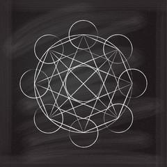 Vector abstract magic geometric chalk symbol