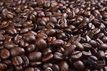 pile beans coffee background