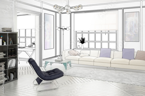 Projekt einer wohnzimmereinrichtung zeichnung for Wohnzimmereinrichtung 2016