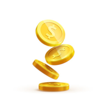 gold coins falling 3d realistic vector coin icon with shadows is