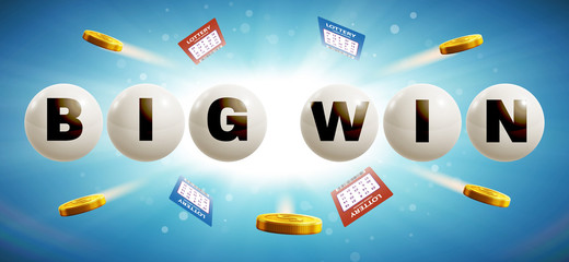 lottery balls isolated on blue glowing background with tickets a