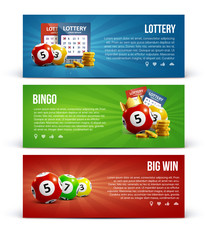 lottery banners with realistic icons balls coins  ticket