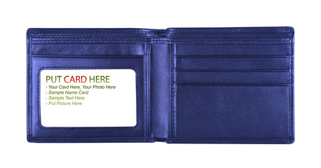 open blue wallet for put card, included clipping path