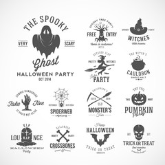 Vintage Halloween Vector Badges or Labels Templates. Witch, Ghost, Skull, Grave, Bats and Other Symbols with Retro Typography. Black.