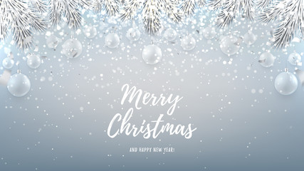 Merry Christmas web banner with glass toys. Beautiful vector illustration with a congratulation. Happy New Year background with silver confetti and shining lights.