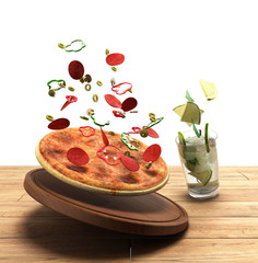 concept of food delivery, the food on a wooden boards 3d illustr