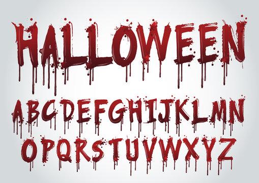 Halloween Splash Alphabet.-vector illustration.