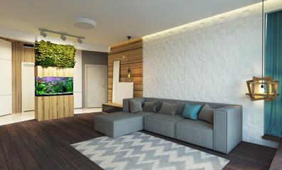 stylish modern interior of the apartment