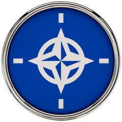 NATO Flag Glossy Button/icon (3d rendering).