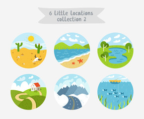 Set of 6 circle locations, little landscapes, seascapes and cloudscapes, vector illustration, flat style
