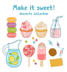 Cartoon desserts, sweets and drinks collection, vector illustration