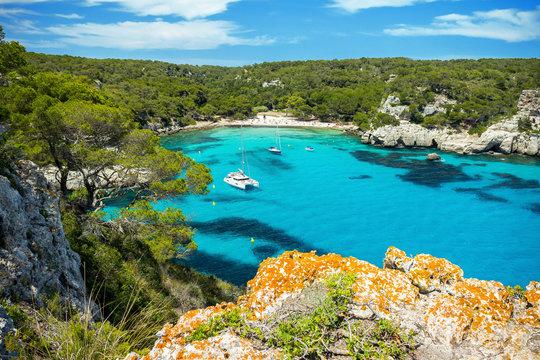 Landscape of Cala Macarella beach, Menorca, Spain