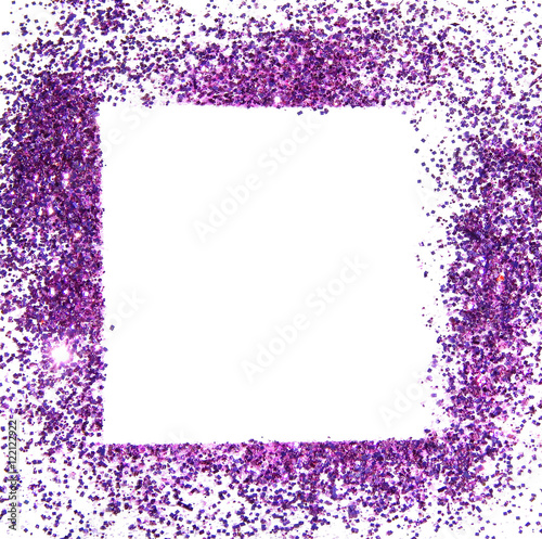 Frame of purple glitter sparkle on white background, can be used for ...
