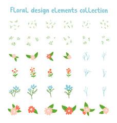 Decorative floral design elements collection. Make your own floral composition