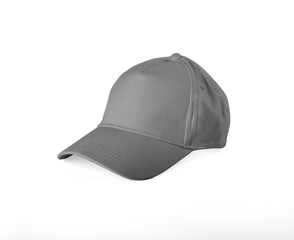 Gray Baseball Cap on white background.