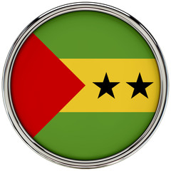 Sao tome and Principe Flag Glossy Button/icon (3d rendering).