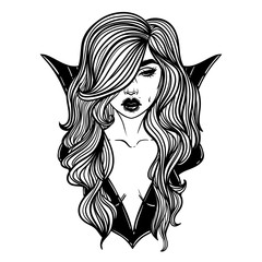 Vampire Girl Line Art. Hand drawn vector illustration. Black line on white background. Cartoon style. Could be used as design for coloring book or as part of Halloween decor.