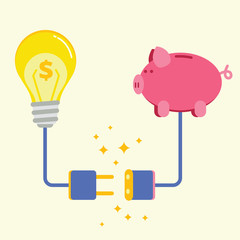 Piggy bank and lamp with electric plug socket. Commercial projec