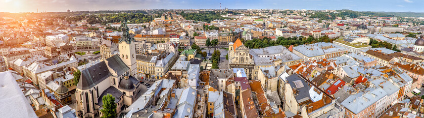 Papiers peints Europe de l Est Panorama of the city airview of Lviv Ukraine