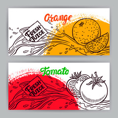 banners of sketch tomato and orange juice