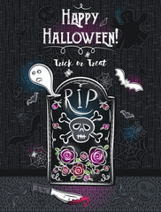 Halloween greeting card with ghost, skull, knife, spider, vector