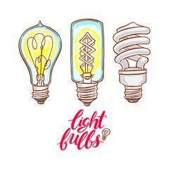 three different bulbs