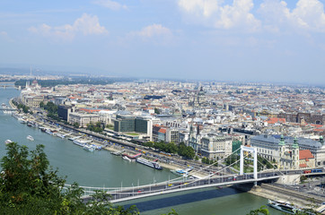 Poster London Panoramic view of Budapest from Citadella hill, Hungary