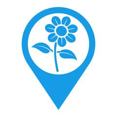 Icono plano localizacion flor azul