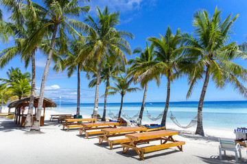 Resort Hammocks and Picnic Tables on Perfect Palm Tree Lined Beach - Panglao, Bohol - Philippines Papier Peint