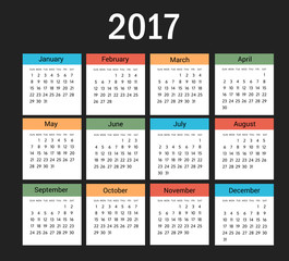 Colorful Calendar of New Year 2017 - Vector EPS10