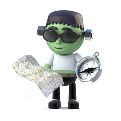 3d Child frankenstein monster navigates with chart and compass