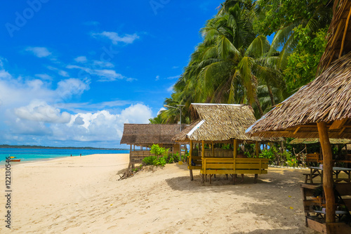 """Tropical Beach Huts: """"Island Huts On Tropical Beach"""" Stock Photo And Royalty"""