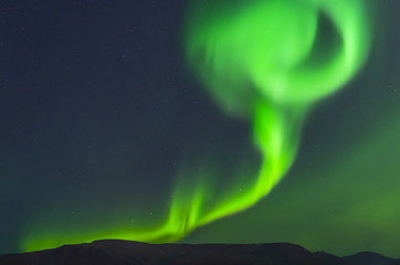 Northern lights in Iceland in autumn, Aurora Borealis near Reykjavik