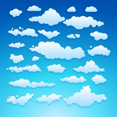 Vector illustration of clouds collection set blue