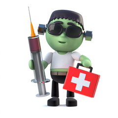 3d Child frankenstein monster arrives with first aid kit and medicine