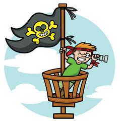 Pirate Kid in the Crows Nest Looking Through Binoculars Cartoon Illustration