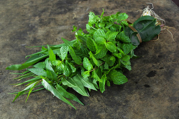 Thai vegetable, mint, spring onion, lime leaf and Vietnamese coriander
