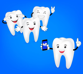 Happy cartoon teeth take photo by phone. Illustration dental care concept, great for health dental care concept